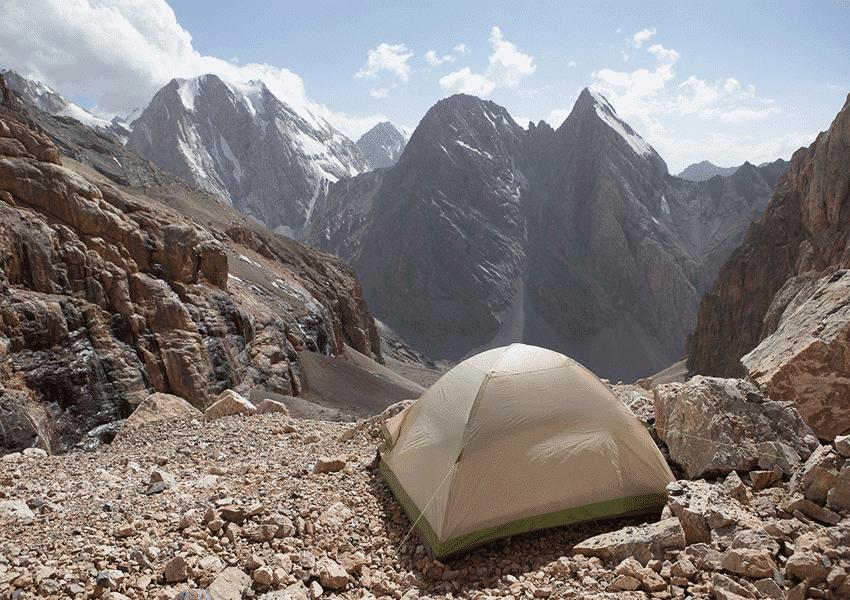 Фанские горы, стоянка с видом на долину